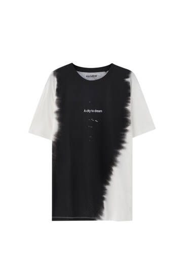 Vertical tie-dye T-shirt with slogan