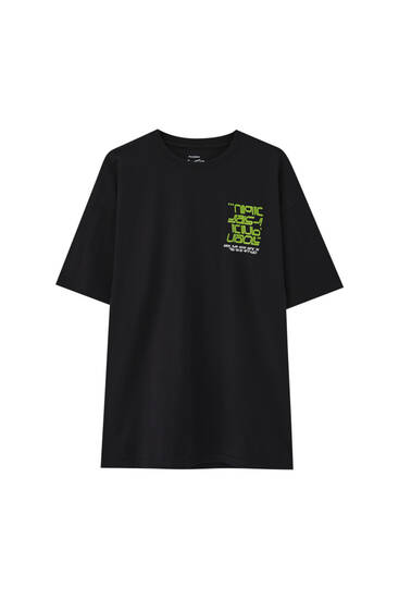 Black oversize T-shirt with STWD print