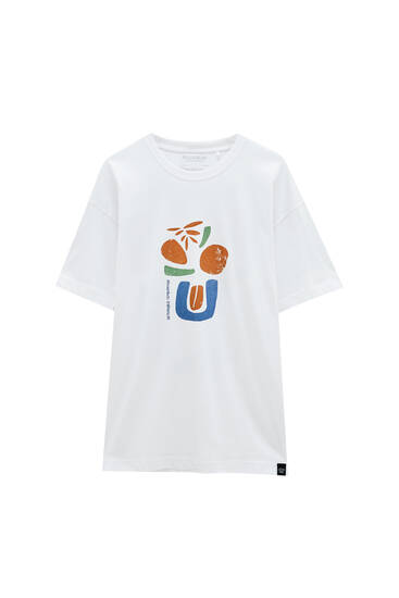 Abstract illustration white T-shirt - ecologically grown cotton (at least 50%)