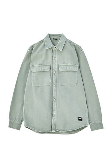 Long sleeve twill overshirt