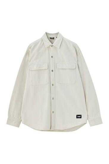 Hemdjacke aus Twill mit langen Ärmeln