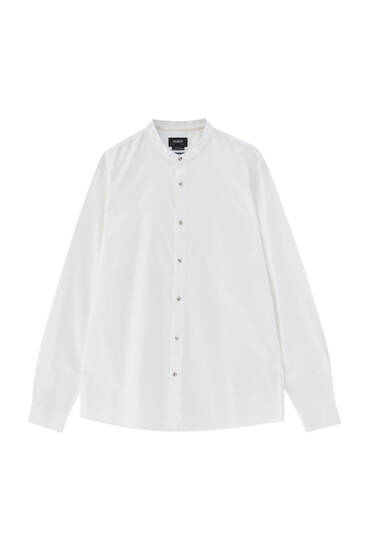 Basic long sleeve stand-up collar shirt