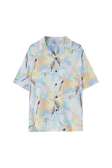 Multicoloured palm tree print shirt - 100% ECOVEROTM Viscose