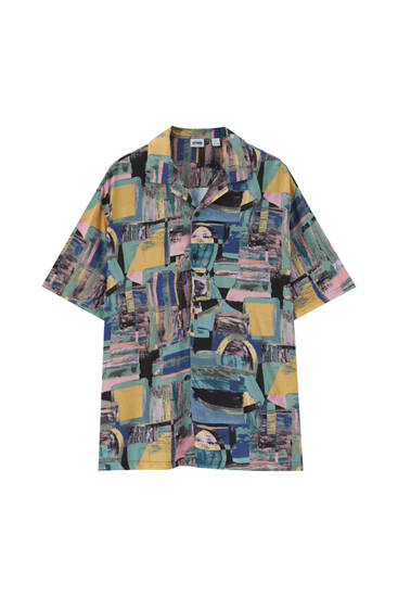 Smudge print shirt - ECOVEROTM viscose (at least 50%)