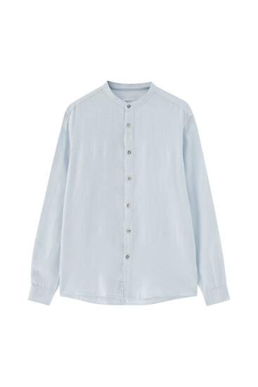 Linen shirt with stand-up collar - 100% European Grown Linen