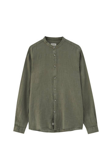 Linen shirt with stand-up collar - 100% European Grown Linen