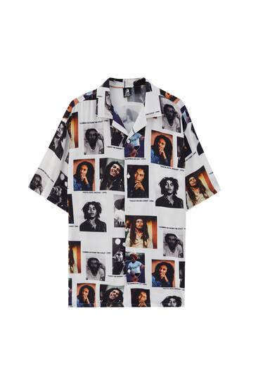 Camisa print Bob Marley - 100% ECOVEROTM viscosa
