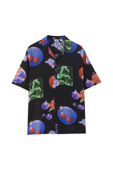 Camicia con stampa casinò in viscosa