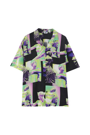 Рубашка с принтом в неоновых тонах. 100% вискоза ECOVEROTM.