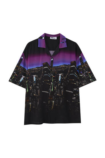 Black city print shirt