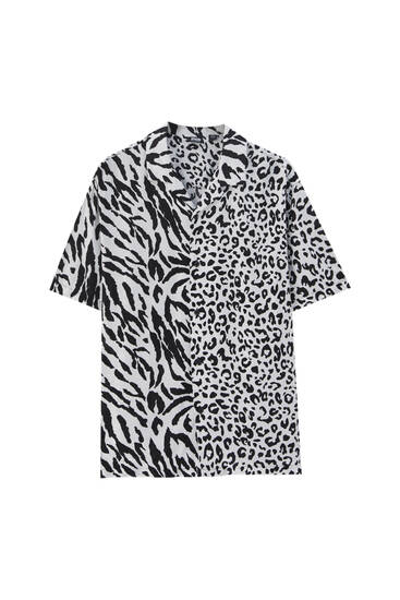 Contrast animal print shirt - 100% ECOVEROTM viscose