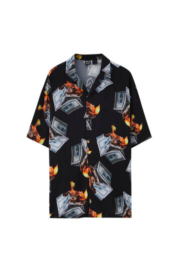 Young Thug black print shirt