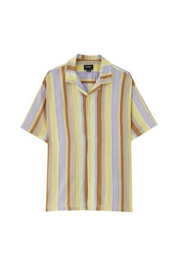 Yellow stripe print shirt