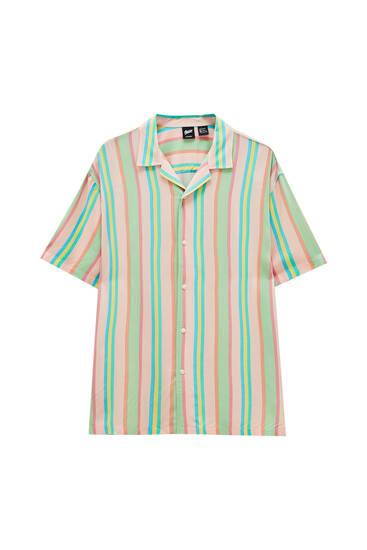 Short sleeve shirt with stripe print - 100% ECOVERO™ viscose