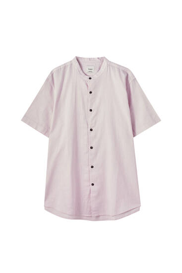 Stand-up collar basic cotton shirt