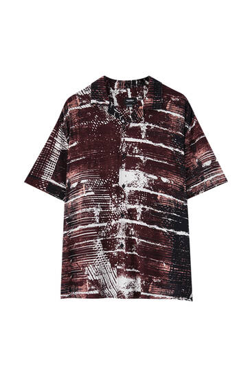 Short sleeve marble print shirt