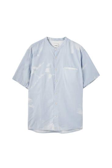 Linen basic stand-up collar shirt