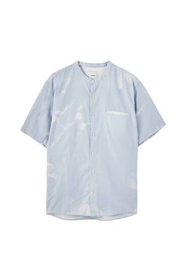 Linen blend basic stand-up collar shirt
