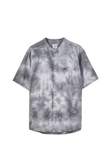 Chemise basique à col mao en lin mélangé