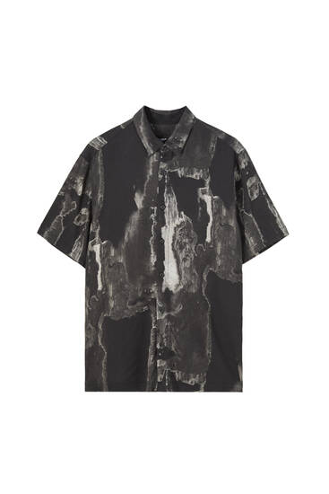 Short sleeve print viscose shirt