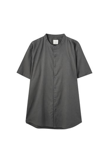 Basic short sleeve stand-up collar shirt