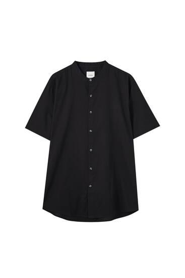 Stand-up collar basic cotton shirt