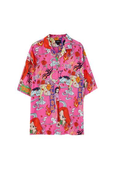 Printed pink shirt - 100% ECOVEROTM viscose