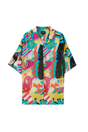 Coloured short sleeve shirt with print