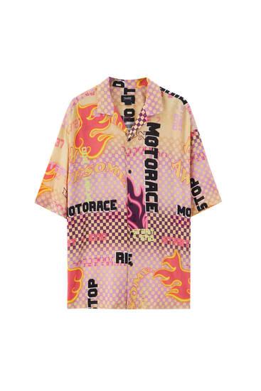 Fire print pink shirt