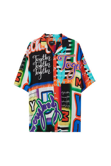 Multicolored slogan print shirt - ECOVEROTM viscose (at least 50%)