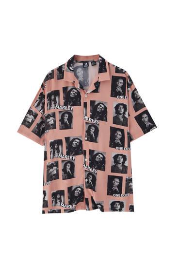 Pink Bob Marley print shirt