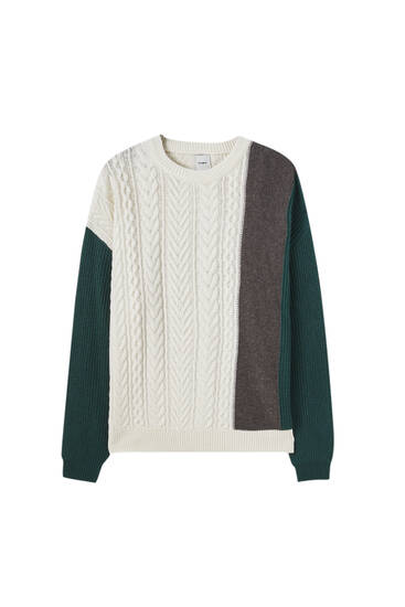 Cable-knit sweater with colour block design