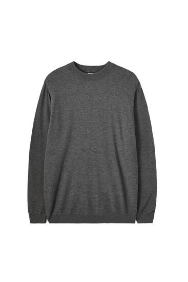Basic high neck textured sweater