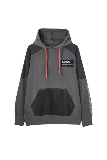 Black NASA hoodie with contrast details