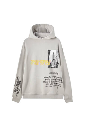 Hoodie with skeleton illustration and slogan