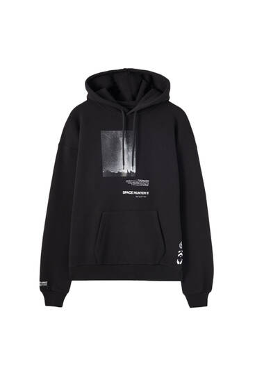 Black hoodie with photograph print