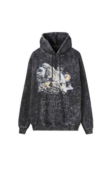 Urblekt svart Star Wars-hoodie