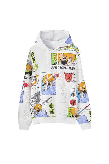 All-over manga print sweatshirt