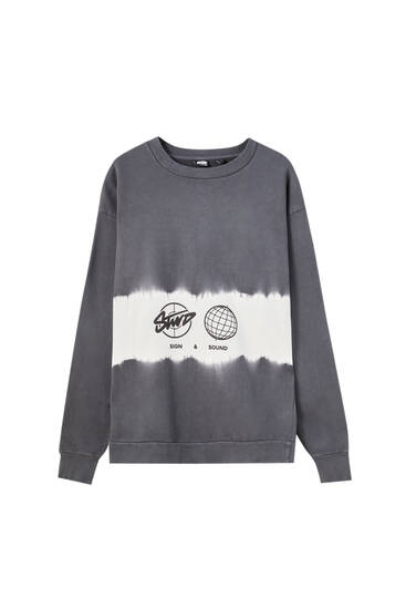 Grey sweatshirt with tie-dye detail