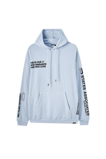 Sky blue STWD pouch pocket hoodie