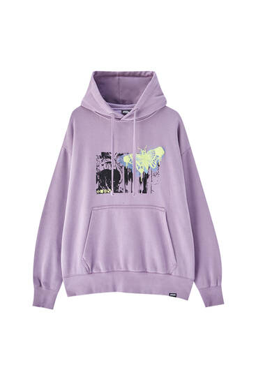 Pink hoodie with embroidered logo illustration