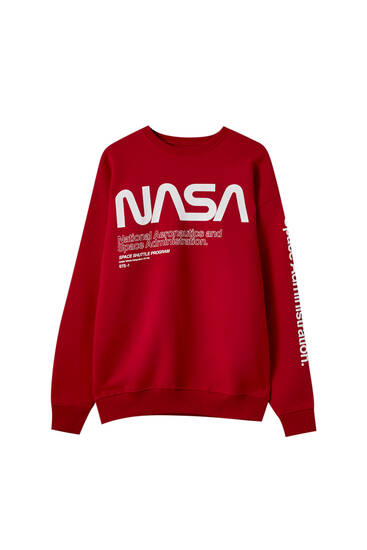 Red Nasa Sweatshirt Pull Bear