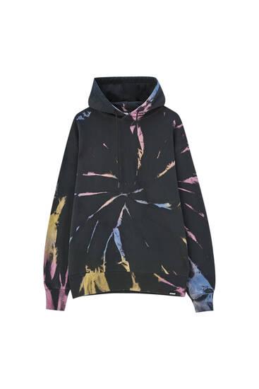 Hoodie bloques de color tie dye