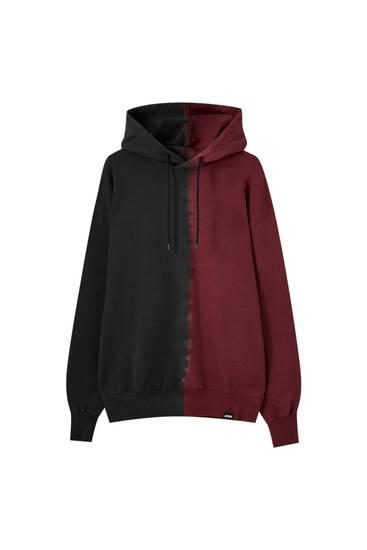 Tie-dye panelled hoodie