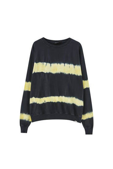 Striped black tie-dye sweatshirt