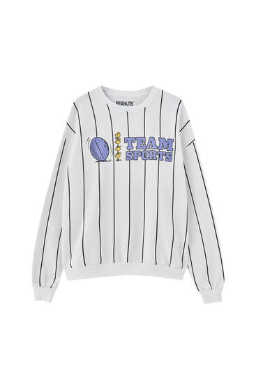 Striped Snoopy sweatshirt with slogan