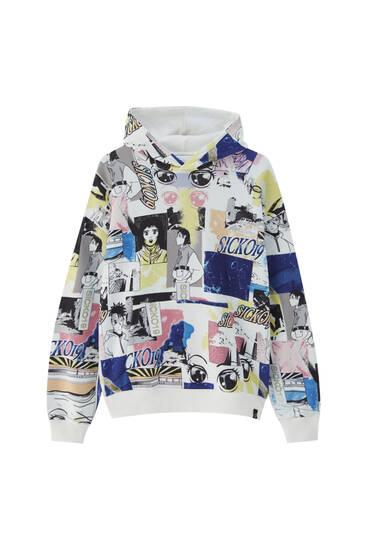 White hoodie with manga print