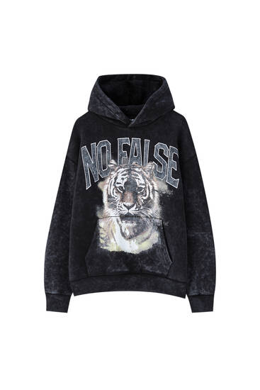 Black hoodie with tiger illustration