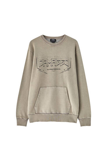 Brown sweatshirt with illustration and slogan