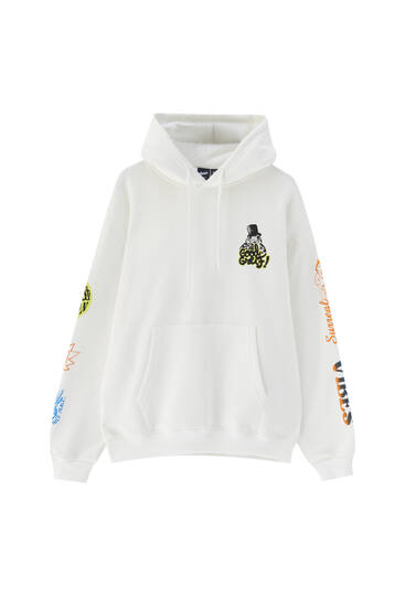 White butterfly illustration hoodie